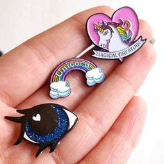 Super cute unicorn rainbow and pony eye pins. Available as a set or singularly in our shop! Yay! by justdaydreamingshop