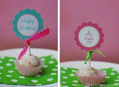There are lots of great ways out there to decorate DIY birthday cakes, and these adorable pastel printouts will be a hit for your cupcakes or any other sweet treat. They even make great little birthday decorations.
