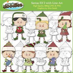 Santas Elf 2 CLip Art with Line Art