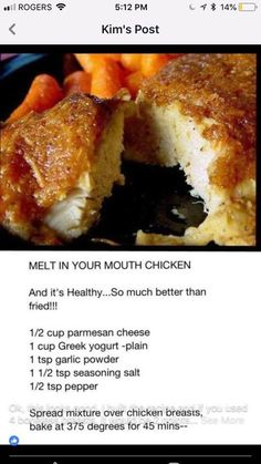 Melt in your mouth baked Chicken with Greek yogurt Turkey Recipes, Meat Recipes, Low Carb Recipes, Cooking Recipes, Healthy Recipes, Recipies, Low Fat Chicken Recipes, Cooking Time, Tandoori Masala