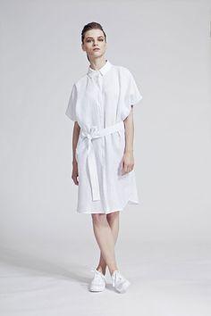 IMRECZEOVA SS16 white linen shirt dress