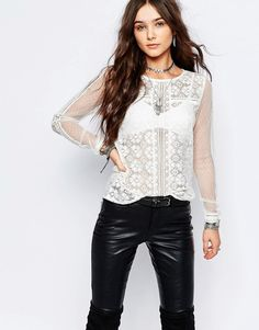 Image 1 ofPimkie Long Sleeved Crochet Top With Lace Sleeves