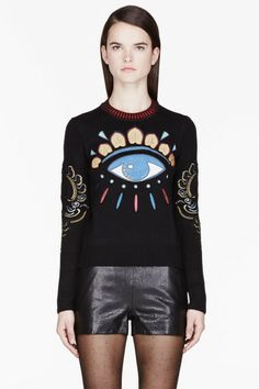 Kenzo Eye Sweater | Kenzo Black and Gold Big Eye Embroidered Sweater in Black - Lyst