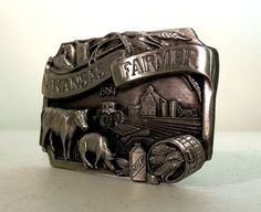 Kansas Farmer 1984 Belt Buckle  collectible  by honeyblossomstudio, $24.95