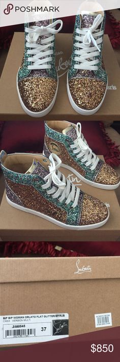 Glitter Christian Louboutins Worn once for my birthday. Basically still brand new ! Multi color glitter. Comes with dust bags and new laces . NO LOW BALLERS OR TRADES ! Thanks Christian Louboutin Shoes Sneakers