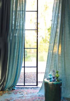 Decor, Window Candles, Window Decor, House Styles, Drapes Curtains, Blue Bedding, Home Deco, Beautiful Curtains, Curtain Decor