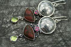 Jasper Sterling Silver Earrings- one of a kind artisan earrings with garnet and peridot