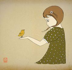 Girl bird illustration, Little girl bird art print poster, Kids wall art, Bird kids prints,  dird drawing, Nursery playroom decor 12x16.