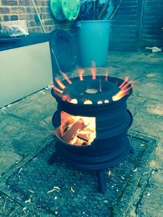 Wheel rim fire pit- This creative fire pit can be used on your deck. Deck Protect was created to keep all decking surfaces safe from radiant heat. We can also be found on the Trex site as the only product to be used on theirs. deckprotect.com Enjoy and relax!!!!