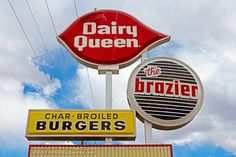 """Weirdness above the """"Da"""" in the molded plastic is part of the shape of an ice cream cone. Retro Robot, Vintage Restaurant, Dairy Queen, Retro Images, American History, Signage, Projects To Try, Priscilla Barnes, Vintage Stuff"""