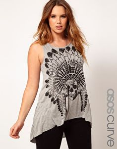Enlarge ASOS CURVE Exclusive Dip Back Top With Feather Skull Print
