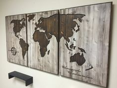 Items op etsy die op world map wooden wall art wooden sign brown world map home decor wood wall art wooden map wooden 3 panel gumiabroncs