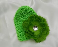 Baby Girl Green Waffle Beanie Hat with Removable by LambyDoo, $2.75