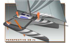 Trimaran 38ft fast cruising sailing Perspective Design