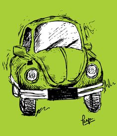 illustration of the retro Volkswagen  Beetle!