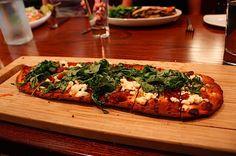 Focaccia Pizza with Zucchini, Tomatoes and Arugula