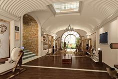 Luxury home gym; bright natural light
