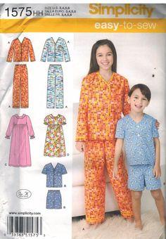 91febfc04c 1575 UNCUT Simplicity Sewing Pattern Girls Boys Lounge wear Pants Tops  Pajamas  Simplicity Sewing Patterns