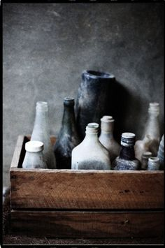 milk crates and old bottles are my obsession Antique Bottles, Vintage Bottles, Bottles And Jars, Glass Bottles, Wabi Sabi, Photocollage, Still Life Photography, Food Photography, Texture Photography