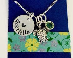 Sea Turtle Necklace, Turtle Necklace, Turtle Jewelry, Turtle Charm Necklace, Turtle Charm, Birthsone Necklace