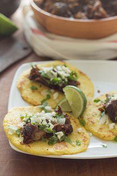 Braised carnitas on cauliflower tortillas. Thank you Slim Palate.