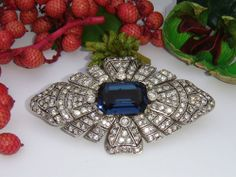 RARE VINTAGE SIGNED CINER RHINESTONE FAUX SAPPHIRE BROOCH PIN  #Ciner