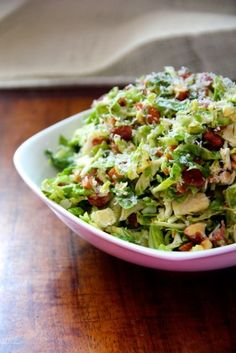 Shredded Brussels Sprout Salad with Citrus Vinaigrette for National Salad Month!