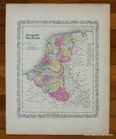 AntiqueMapBelgiumNetherlandsGermany1725  Early Europe Maps