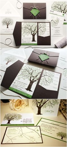Grandfather Oak Tree Wedding Invitations / http://www.deerpearlflowers.com/rustic-wedding-invitations-from-etsy/