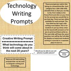 FREE 6-8 Writing prompts about technology.  This is a PREVIEW of the total Writing Prompts Product.