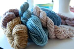 natural dyes so far...onion, bean and hibiscus on a bunch of different yarns.