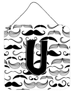 Letter U Moustache Initial Wall or Door Hanging Prints CJ2009-UDS66