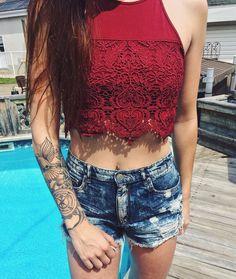 Get your summer on. / Shop the look: http://www.garageclothing.com/ca/crochet-scallop-lace-crop-cami/p/100015007?utm_source=pinterest&utm_medium=social&utm_content=mauddesavard&utm_campaign=iweargarage #iweargarage