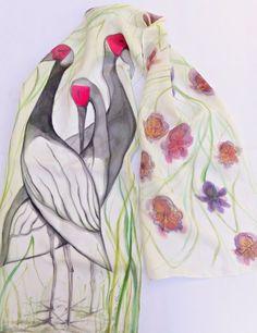Silk scarf,Hand painted silk scarf,Artistic silk scarf,Unique silk scarf,Scarf with Birds,Nature motives,Flowers scarf,White silk scarf Painted Silk, Hand Painted, National Theatre, Silk Material, White Silk, Silk Painting, Ballet Dancers, Beautiful Hands, Ballerina