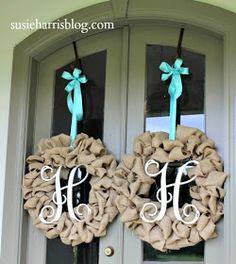 "Burlap wreath DIY; looking for an idea for ""double front doors""...great for fall!"