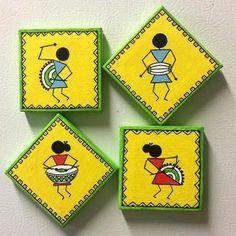 Worli Painting, Pottery Painting, Fabric Painting, Watercolor Paintings, Madhubani Art, Madhubani Painting, Thermocol Craft, Coaster Art, African Art Paintings