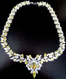 Amazing Canary Yellow & Ice AAA Cubic Zirconia Silver Necklace
