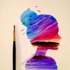 DeviantArt - Discover The Largest Online Art Gallery and Community Watercolor Art Diy, Watercolor Paintings, Dibujos Tumblr A Color, Small Canvas Art, Illustration Art, Illustrations, Galaxy Art, Silhouette Art, Art Plastique