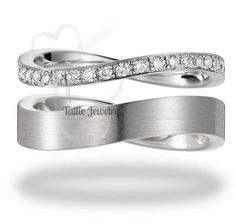 His and Hers Mens Womens Matching 10K White Gold Wedding Bands Rings Set with Diamond 6mm/2.5mm Wide  Sizes 4-12  Free Engraving  New by TallieJewelry on Etsy