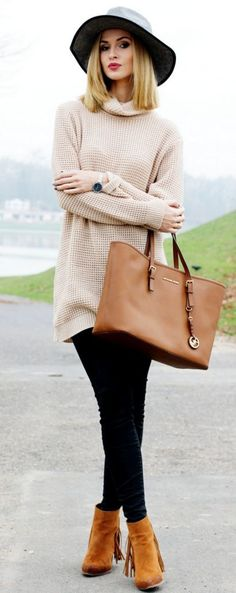 Look of the day / Thick beige sweater - Beauty Fashion Shoppingbeauty-fashion-shopping.p #look