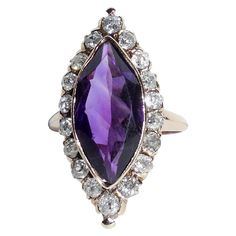 """Antique Victorian 14K Yellow Gold 4.74 CTS Amethyst Rose Cut Diamond 1"""" Long Navette Ring Size 4.5"""