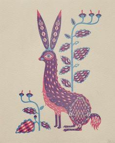 Rabbit by Klaus Haapaniemi by Wilkintie on Etsy, $70.00