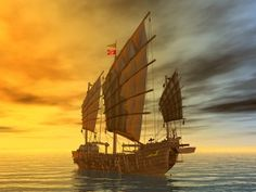 Computer generated 3D illustration with a Chinese Junk at sunset