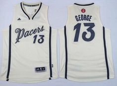af6b24290 Men s Indiana Pacers  13 Paul George Revolution 30 Swingman 2015 Christmas  Day Cream Jersey Cheap
