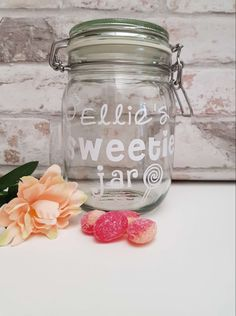 A beautiful, personalised sweet treats jar - perfect for a Valentine's  gift, mothers day or birthday or just to give to someone who loves sweets! Personalised Scrapbook, Personalised Frames, Glass Jars, Mason Jars, Dog Photo Frames, Dishwasher Tabs, Little Girl Pictures, Laundry Pods, Sweet Jars