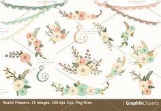 Rustic Flowers by GraphikCliparts on @creativemarket