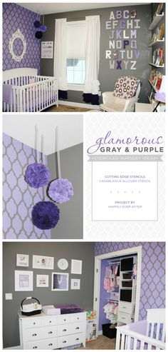 gray and purple stenciled nursery accent wall