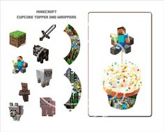 "Etsy Minecraft party decor, 8 2"" cupcake toppers ) with 2 cupcake wrappers"