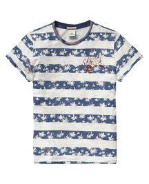 Camiseta de cuello redondo con estampado de rayas