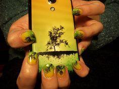Nails by jademermaid (Jill Fazio): yellow & green fade with trees design. Get a closer look @ http://nailartgallery.nailsmag.com/jademermaid/photo/277063/yellow-green-fade-with-trees